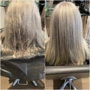 before and after nanokeratin treatment at antonys hair salon in Bury