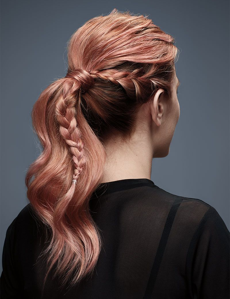 Messy-pony-tail-with-side-French-Braid hair up  prom hairstyles and ideas at antonys for hair salon in Bury, manchester